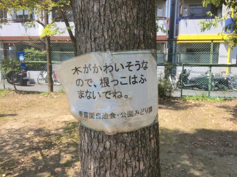 木に貼り紙